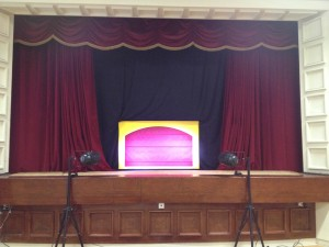 Moon & Sixpence Puppet Theatre marionette stage on school concert stage.
