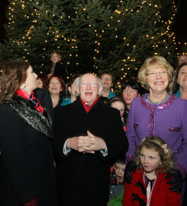 President Higgins enjoys the 2012 tree lighting at Áras an Uachtaráin